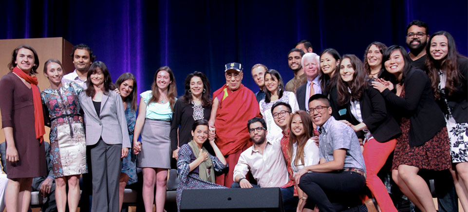 His Holiness the 14th Dalai Lama celebrated his 80th birthday with past and current UCI Dalai Lama Scholars and Fellows during the Global Compassion Summit at UCI.