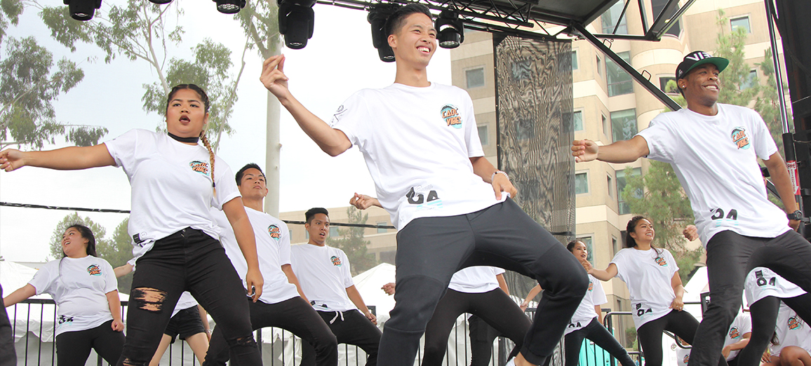 Dance crew CADC wows the crowd with their moves during the Anteater Involvement Fair.