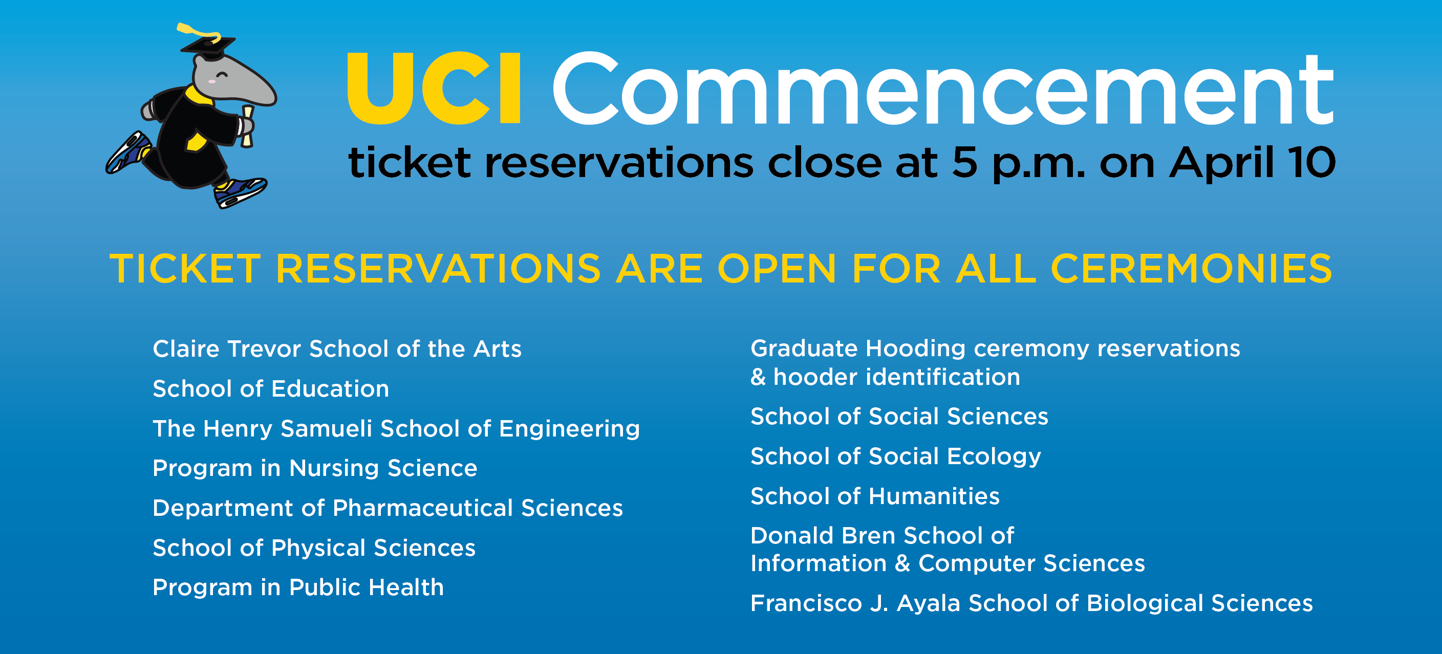 Commencement ticket reservations are available online