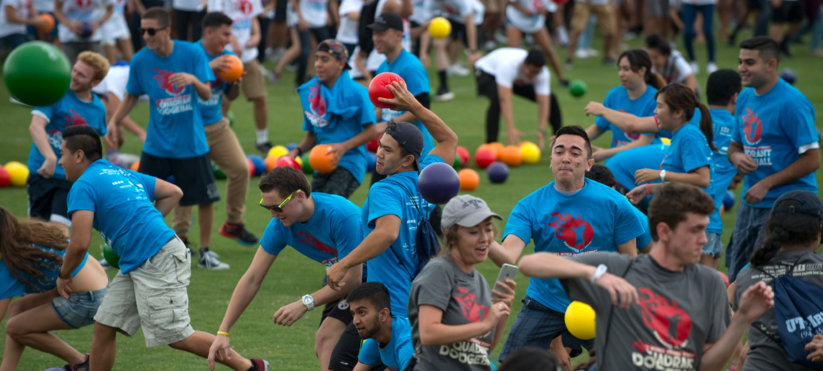 UCI students participate in the largest game of Four Quadrant Dodgeball during 2016 Welcome Week in an attempt to secure another Guinness World Record.